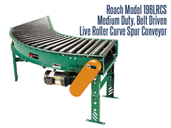 The Roach Model 196LRCS, Medium Duty Belt Driven Live Roller Curve Spur, can be used for product diversion to spur line or for merging loads of totes, fixtures, cartons and cardboard boxes