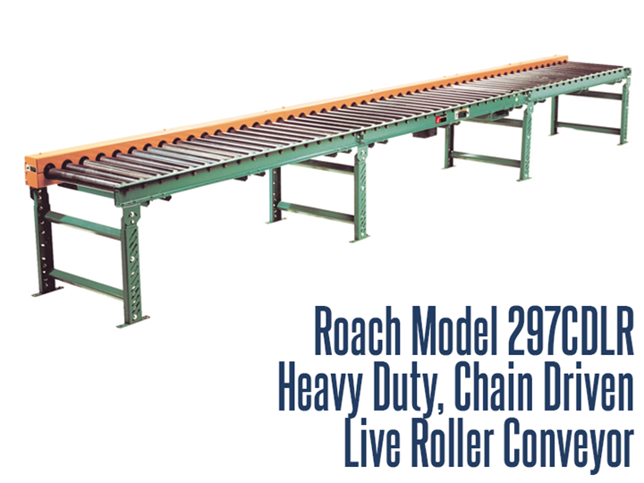 The Model 297CDLR is a very versatile conveying unit for package handling and accumulation.  It is especially suited for carrying loads in the presence of oil, dust, and other contaminants.  This chain driven live roller includes 7 gauge tread rollers and structural steel frame as standard unit features.