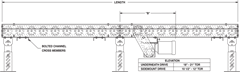 Roach Model 297CDLR, Heavy Duty Chain Driven Live Roller Conveyor Side View Schematic