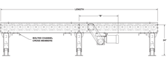 Roach Model 3530CDLR Heavy Duty Chain Driven Live Roller Conveyor Side View Schematic