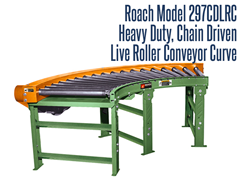 The Heavy Duty Chain Driven Live Roller Curve Roach Model 297CDLRC can transport heavy unit loads not requiring product orientation. Chain driven live roller conveyors, or pallet conveyors, are typically used to transport heavier loads at controlled speeds.