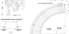 Roach Model 351TCDLRC Heavy Duty Tapered Roller Chain Driven Live Roller Curve Side View Schematic