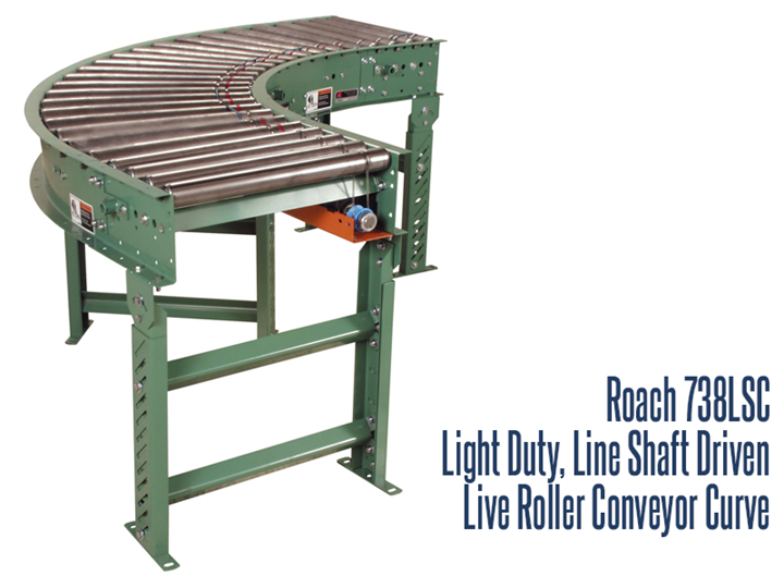 Roach Model 7338LSC, Light Duty Line Shaft Driven Curve Module Conveyor is a line shaft curve featuring tapered rollers to help product maintain orientation