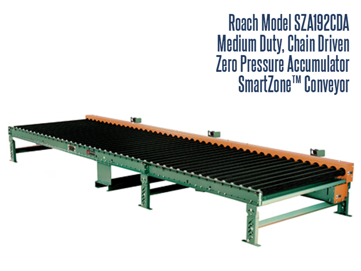 Medium Duty Chain Driven Zero Pressure Accumulator Roach Model SZA192CDA Smart Zone® is designed to safely bring together medium duty loads in 5' zones. Medium Duty Chain Driven Zero Pressure Accumulator Roach Model SZD192CDA Smart Zone® incorporates photo electric sensors, instead of sensor rollers, to detect product loads, which eliminates many problems associated with sensor rollers