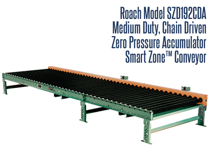 Roach's Medium Duty Chain Driven Zero Pressure Accumulator Conveyors are designed to safely bring together medium duty loads in 5' zones.