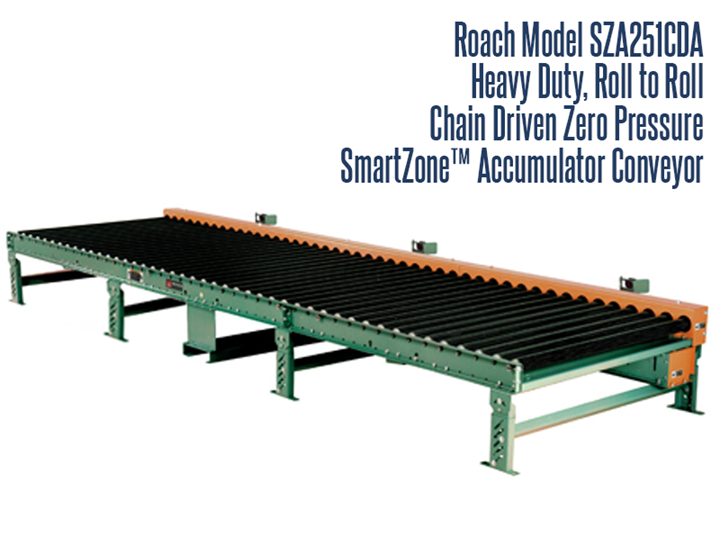 Heavy Duty Chain Driven Zero Pressure Accumulator Roach Model Sza251cda Smart Zone® is a heavy duty roll-to-roll chain driven zero pressure accumulator, designed to safely accumulate heavy products such as castings, drums, containers and heavy pallet loads in 5' zones