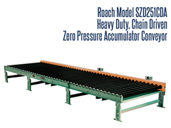 Heavy Duty Chain Driven Zero Pressure Accumulator Roach Model SZD251CDA Smart Zone® can accumulate and release heavy duty products by singulation or slug release