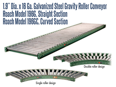 "Picture for 1.9"" Dia. X 16 Ga. Galvanized Steel Gravity Roller Conveyor (Roach Model 196G)"