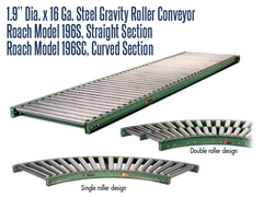 "1.9"" Dia. X 16 GA. Steel Gravity Roller Conveyor Roach Model 196S is a gravity conveyor that moves the load without utilizing motor power sources, usually down an incline or through a person pushing the load along a flat conveyor"
