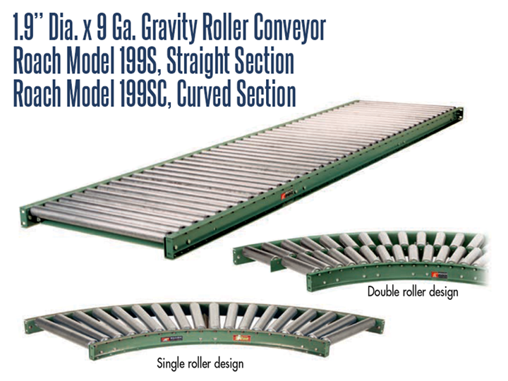 """Roach Model 199S .9"""" Dia. X 9 GA. Gravity Roller Conveyor conveys product efficiently and economically."""