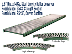 "2-1/2"" Dia. X 14 GA. Steel Gravity Roller Conveyor Roach Model 254S is used as transportation for cartons, packages and/or pallets."