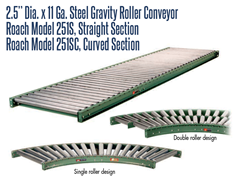 "2-1/2"" Dia. X 11 GA. Steel Gravity Roller Conveyor Roach Model 251S is an unpowered conveyor that uses the force of gravity to move materials over a downward path"