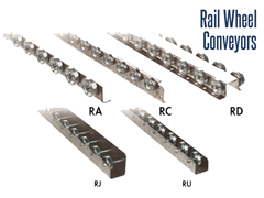 Roach Rail Wheel Conveyors convey loads of cartons, totes, fixtures and cardboard boxes. Non-contact accumulation and unitized loads can be conveyed and some pallet loads that are either perpendicular tor parallel to the rollers