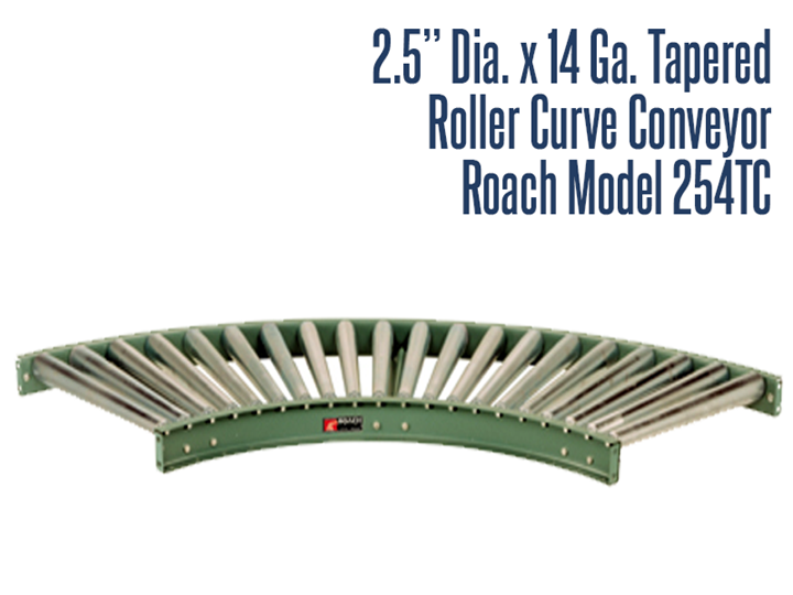 Roach Model 254TC can add to the versatility of straight conveyors. Curves provide smooth product flow with minimum amount of pitch based on weight and size of product being conveyed