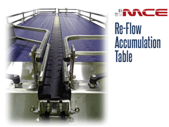 Re-Flow Accumulation Table Stainless Steel allows for uniformed single file product orientation.