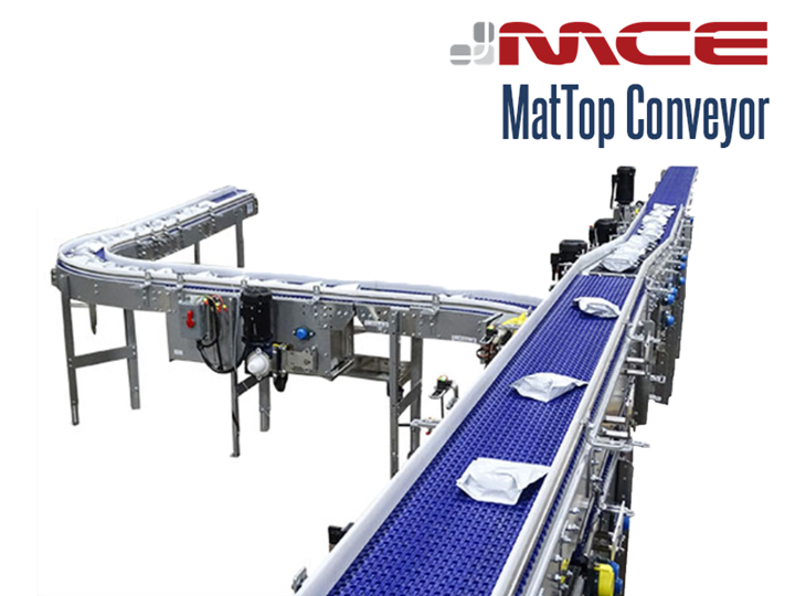 A MCE Stainless Steel MatTop Conveyor can be used in food processing applications and range from purveying of meat, processing of vegetables, and food assembly lines for pizzas, sandwiches and prepared meals.