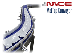 MCE Stainless Steel MatTop Conveyor Curve handling pouches
