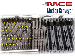 Close Up of MCE MatTop Chain Examples: Roller Chain, LBP Transfer Plate, Friction Chain