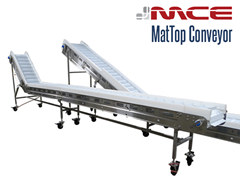 MCE Stainless Steel MatTop Flighted Incline Conveyor