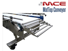 MCE Stainless Steel MatTop Conveyor with Roller Transfer