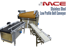 Stainless Steel Low Profile Belt Conveyors are ideal for conveying product to fillers, cappers, labelers, and robots where accurate product spacing, orientation, accumulation and stability is required.