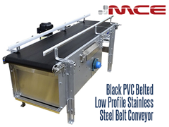 Black PVC Belted Low Profile Belted Conveyor; durable, great for light and medium duty applications; can easily integrate with existing systems, Non-toxic, Code Dating