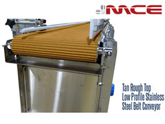 Tan Rough Top Low Profile Stainless Steel Belt Conveyor; non-marking, resistant to product slippage on inclines and declines, long wearing, reduces vibrations and impact to product during transport
