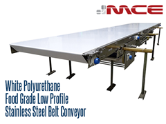 White Polyurethane Food Grade Low Profile Stainless Steel Belt Conveyor; easily cleaned, suitable for food contact, will not transfer odor or color contamination to food products, belt doesn't sink, reducing water pooling and bacterial growth