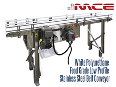 White Polyurethane Food Grade Low Profile Stainless Steel Belt Conveyor, Side View