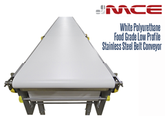 White Polyurethane Food Grade Low Profile Stainless Steel Belt Conveyor, Top View
