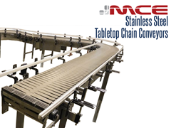 Stainless Steel Table top Conveyor used in assembly, and parts handling applications.