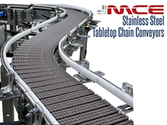 LBP Chain on a Stainless Steel Table top Conveyor