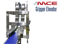 A Vertical Lift Gripper Conveyor or gripper elevator conveyor is a compact solution to move products from one elevation to another using minimal floor space.