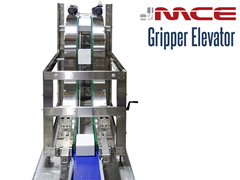 Stainless steel vertical gripper conveyor transporting product