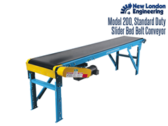 The Model 200 Slider Bed Belt Conveyor is an economical alternative that boasts a shallow frame which allows for tight spaces.