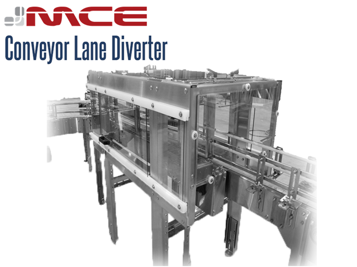 Stainless steel conveyor lane diverters divide containers and packages from infeed lanes to multiple discharge lanes at high speeds with maximum efficiency.