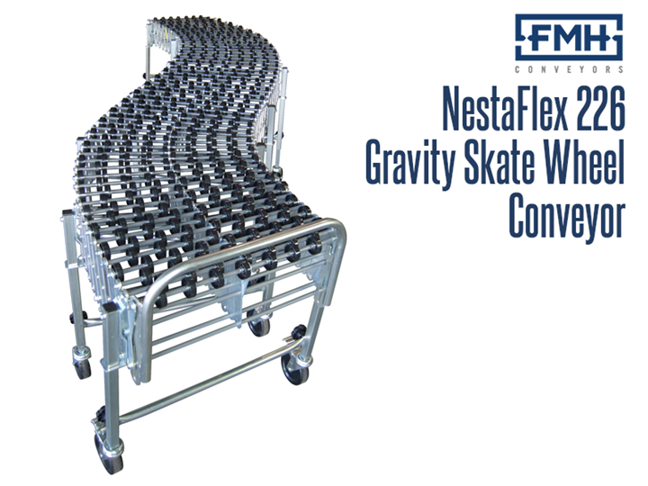 The Nestaflex® 226 Gravity Skate Wheel Conveyor is designed to expand, contract and move easily and it is a self tracking, gravity skate wheel conveyor that has a per lineal foot capacity of 226 pounds
