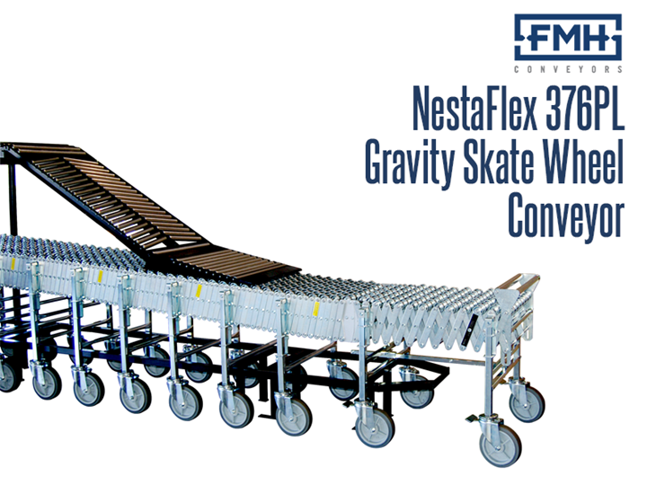 The NestaFlex® 376 PL Gravity Skate Wheel Conveyor is ideal for loading and unloading trucks and trailers. It can bend or flex to configure to areas that a straight, fixed conveyor may be unsuitable for use. This conveyor is often used in areas requiring temporary conveyance such as shipping and receiving.