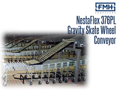 The NestaFlex® 376 PL Gravity Skate Wheel Conveyor in use at a production facility.