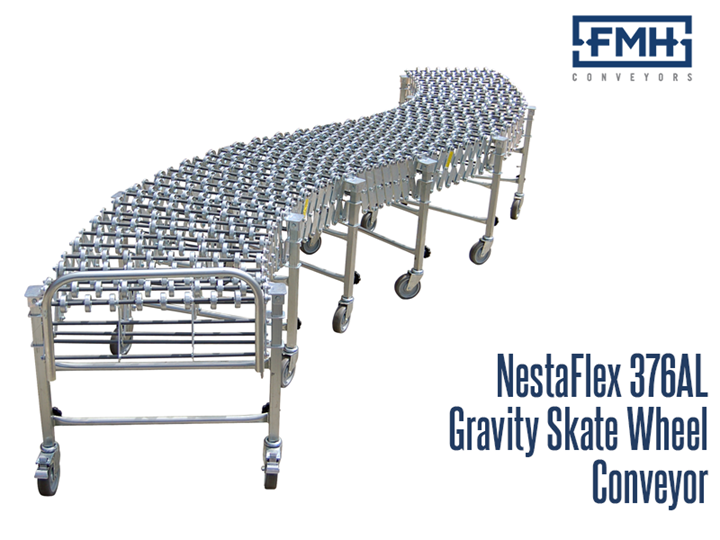 The NestaFlex® 376 AL/FL Gravity Skate Wheel Conveyor is a heavy duty expandable and flexible conveyor ideal for loading and unloading trucks and trailers. It can bend or flex to configure to areas that a straight, fixed conveyor may be unsuitable for use. This conveyor is often used in areas requiring temporary conveyance such as shipping and receiving.