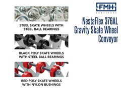 The NestaFlex® 376 AL/FL:  Has optional Black Poly Skate Wheels with Steel Ball Bearings or Red Poly Skate Wheels with Nylon Bushings
