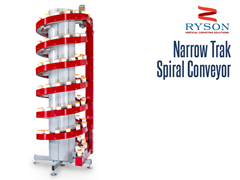 Ryson Narrow Trak Spiral Conveyor is a space saving verticle conveyor. One of the many benefits of spiral inclines or decline conveyors are pick module merging and accumulation