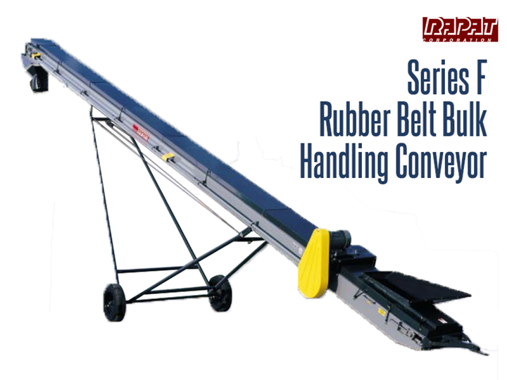 Rapat Bulk Handling Series F Conveyor can gently convey the material without cracking or grinding. The Series F conveyor is a rubber belt conveyor designed for handling bulk materials such as seed, beans, fertilizer, grain, salt, coal, ore, and sand.
