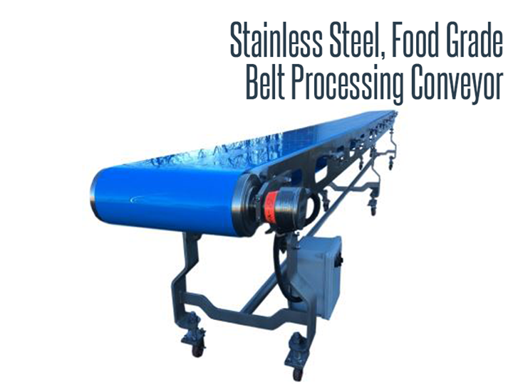 Thomas Conveyor has a selection of food grade, stainless steel belt conveyors designed to allow production facilities build directly on the urethane conveyor belt.