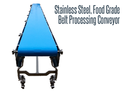 Our urethane belt processing conveyor is washdown compliant and has a hygienic design for USDA assembly.