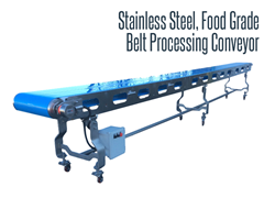 The belt processing conveyor offers easy disassembly for wash down sanitation.