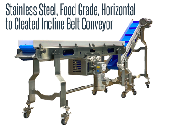 Stainless Steel, Food Grade Horizontal to Cleated Incline Belt Conveyor