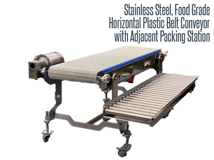 Stainless steel, food grade, and washdown safe horizontal plastic belt conveyor with an adjacent gravity roller packing station.