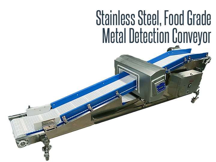 Stainless steel, food grade and washdown safe metal detection conveyor.