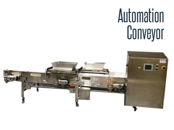 Stainless steel, food grade, and wash down safe automation conveyor.